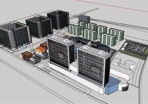 某地商业办公详细综合楼设计SU(草图大师)模型