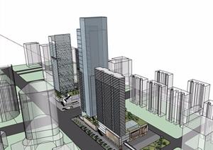 某街边商业办公高层建筑楼设计SU(草图大师)模型
