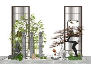 新中式景觀小品 庭院景觀 石頭 佛像 植物 隔斷組合SU(草圖大師)模型