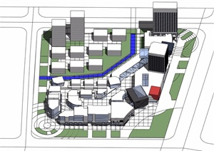 某现代商业办公综合体建筑设计SU(草图大师)模型