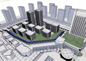 某现代商业中心办公综合体建筑设计SU(草图大师)模型