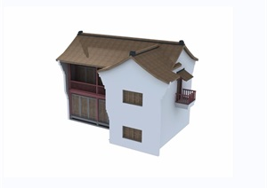 两层详细的住宅楼建筑素材设计3d模型及效果图