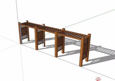 防腐木详细廊架素材设计su模型