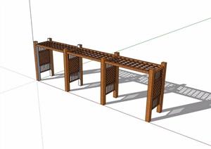 防腐木详细廊架素材设计SU(草图大师)模型