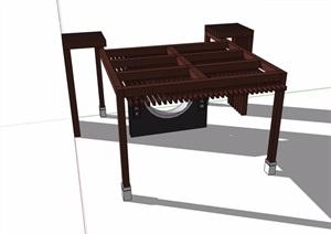 某防腐木详细廊架素材设计SU(草图大师)模型
