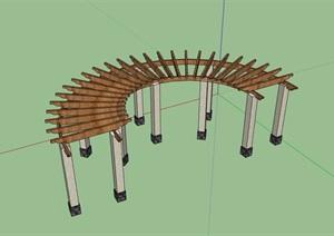 某详细的完整防腐木详细廊架素材设计SU(草图大师)模型