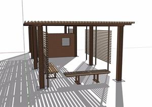 现代防腐木详细廊架素材设计SU(草图大师)模型