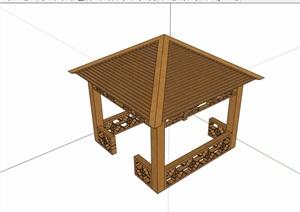 防腐木详细的亭子素材设计SU(草图大师)模型