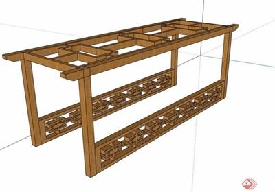 中式防腐木详细廊架素材设计su模型