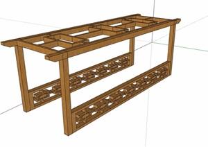 中式防腐木详细廊架素材设计SU(草图大师)模型