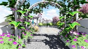 地中海屋顶露台花园景观设计su模型