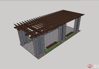 某园林防腐木详细廊架素材设计su模型