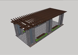 某园林防腐木详细廊架素材设计SU(草图大师)模型