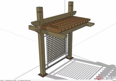 防腐木详细廊架素材su模型