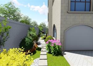 欧式别墅庭院花园景观设计SU(草图大师)模型