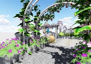 地中海屋顶露台花园景观设计SU(草图大师)模型