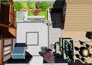 中式露台屋顶花园景观设计SU(草图大师)模型