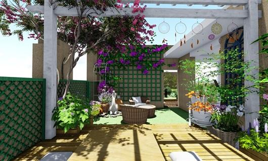 屋顶露台花园景观设计su模型
