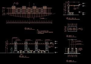 廊架、木栈道、石桌凳、园桥设计图纸
