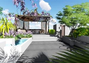 屋頂花園現代景觀方案Su設計模型