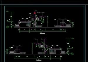 现代风格详细的围墙大门素材cad施工图