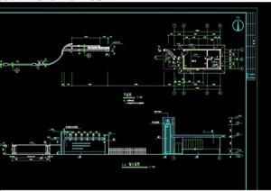 某现代风格详细大门cad施工设计图
