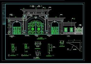 欧式风格详细的大门设计cad全套施工图