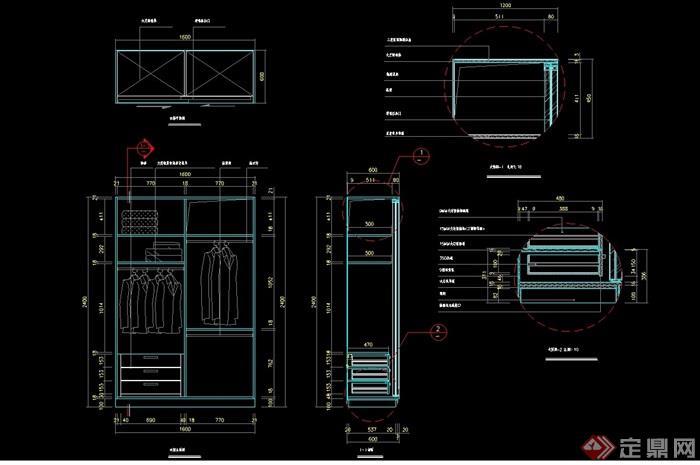 双开衣柜素材设计cad详图