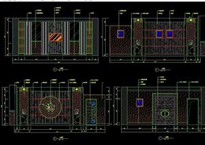 中式餐包间立面设计cad施工图