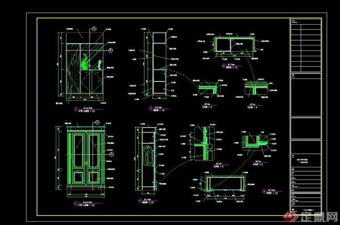 酒楼包间衣柜设计cad详图