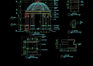 欧式风格详细的完整景观亭cad施工详图