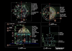 园林景观圆形景观亭素材设计cad施工图