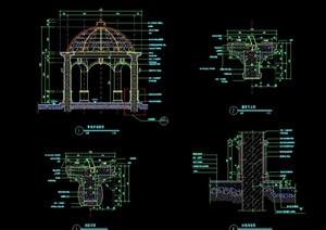 经典欧式风格详细的景观亭设计cad详图