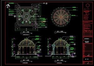详细的欧式风格园亭cad施工详图