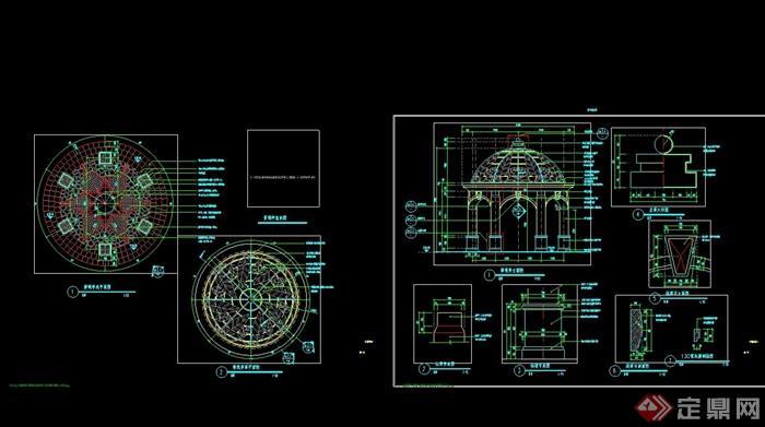 某现代风格详细的景观亭cad施工详图