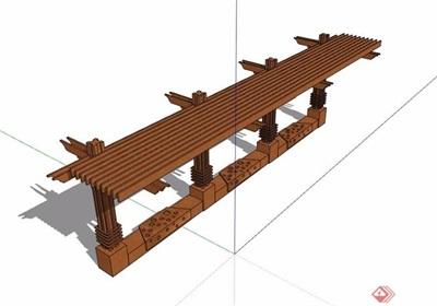 防腐木质廊架素材设计su模型