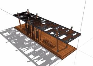 某现代风格防腐木廊架素材设计SU(草图大师)模型
