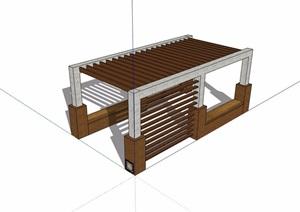 详细的景观防腐木廊架设计SU(草图大师)模型