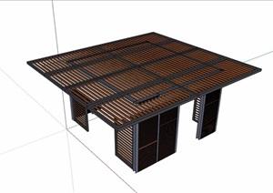防腐木廊架素材设计SU(草图大师)模型