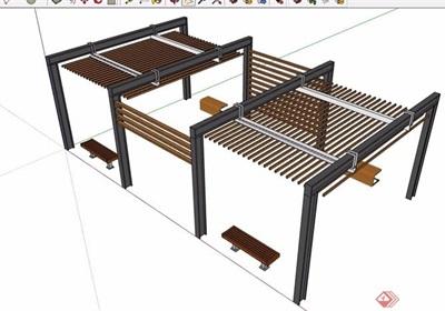 园林景观节点0防腐木廊架su模型