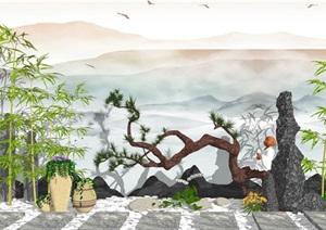新中式景观小品 庭院景观 石板  假山石头 陶罐 花钵花盆 植物SU(草图大师)模型