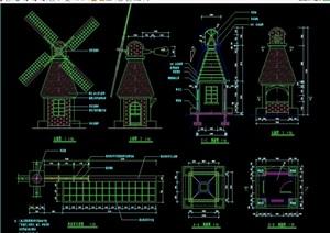 特殊造型风车售卖亭设计cad施工图