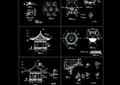 古典中式风格详细的六角亭设计cad施工图