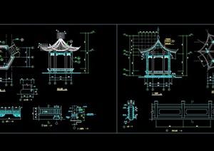 古典中式风格六角亭设计cad施工图