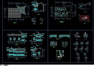 连体结构休闲亭结构cad详图