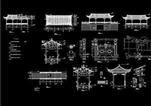连体结构廊亭素材设计cad施工图