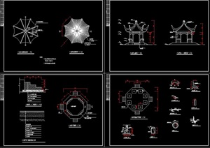 古典中式八角亭设计cad施工图