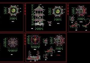 古典中式风格详细的八角亭素材cad施工图
