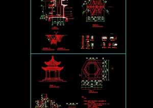 古典中式六角亭重檐亭cad方案