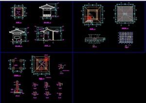 古典中式风格详细的四角亭素材cad施工图